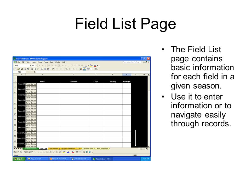 Field List Page The Field List page contains basic information for each field in a given season.