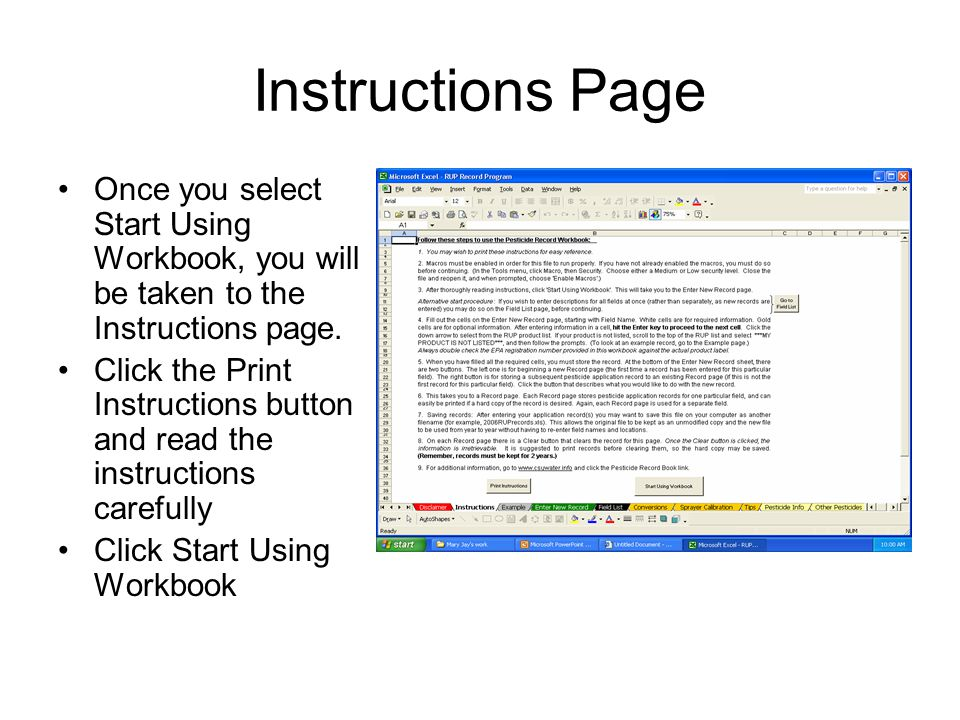 Instructions Page Once you select Start Using Workbook, you will be taken to the Instructions page.