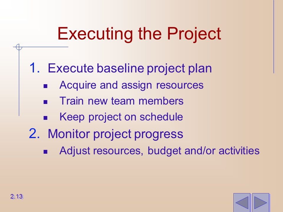 Executing the Project 1. Execute baseline project plan Acquire and assign resources Train new team members Keep project on schedule 2. Monitor project