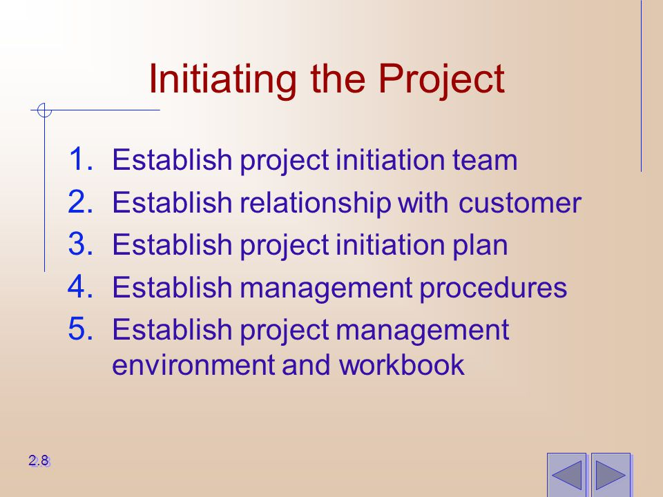 Initiating the Project 1. Establish project initiation team 2. Establish relationship with customer 3. Establish project initiation plan 4. Establish