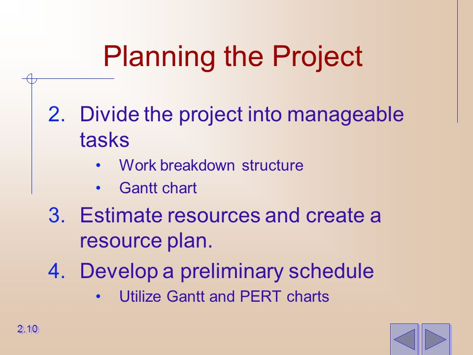 Planning the Project 2.Divide the project into manageable tasks Work breakdown structure Gantt chart 3.Estimate resources and create a resource plan.