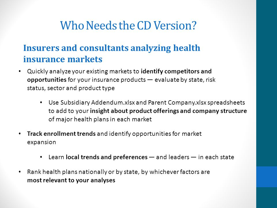 Who Needs the CD Version? Vendors trying to sell goods and services to health insurers Identify top-level executives by job function, to know who is t