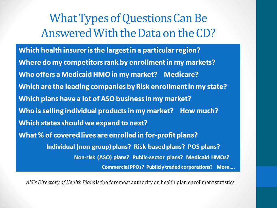 Who Needs the CD Version? Insurers and consultants analyzing health insurance markets Quickly analyze your existing markets to identify competitors an