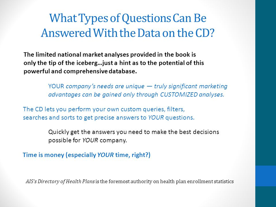 What Types of Questions Can Be Answered With the Data on the CD? Which health insurer is the largest in a particular region? Who offers a Medicaid HMO
