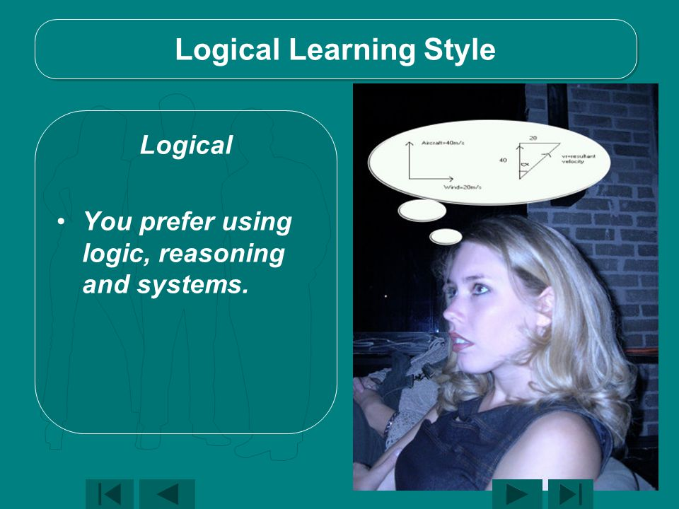 Logical Learning Style Logical You prefer using logic, reasoning and systems.