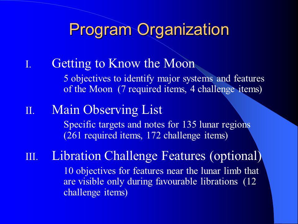 Program Organization I.