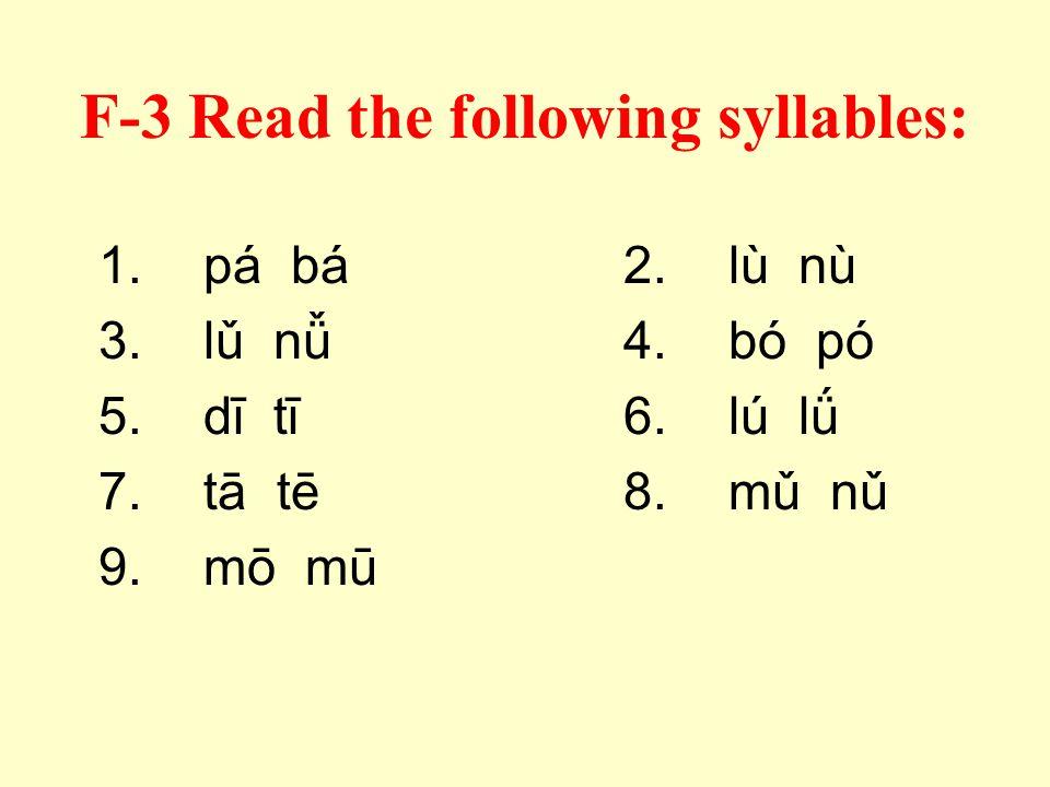 F-2 Circle the syllable pronounced: mū mú mǔ mù mō mó mǒ mò lī lí lǐ lì lǖ lǘ lǚ lǜ tū tú tǔ tù dū dú dǔ dù nā ná nǎ nà pō pó pǒ pò
