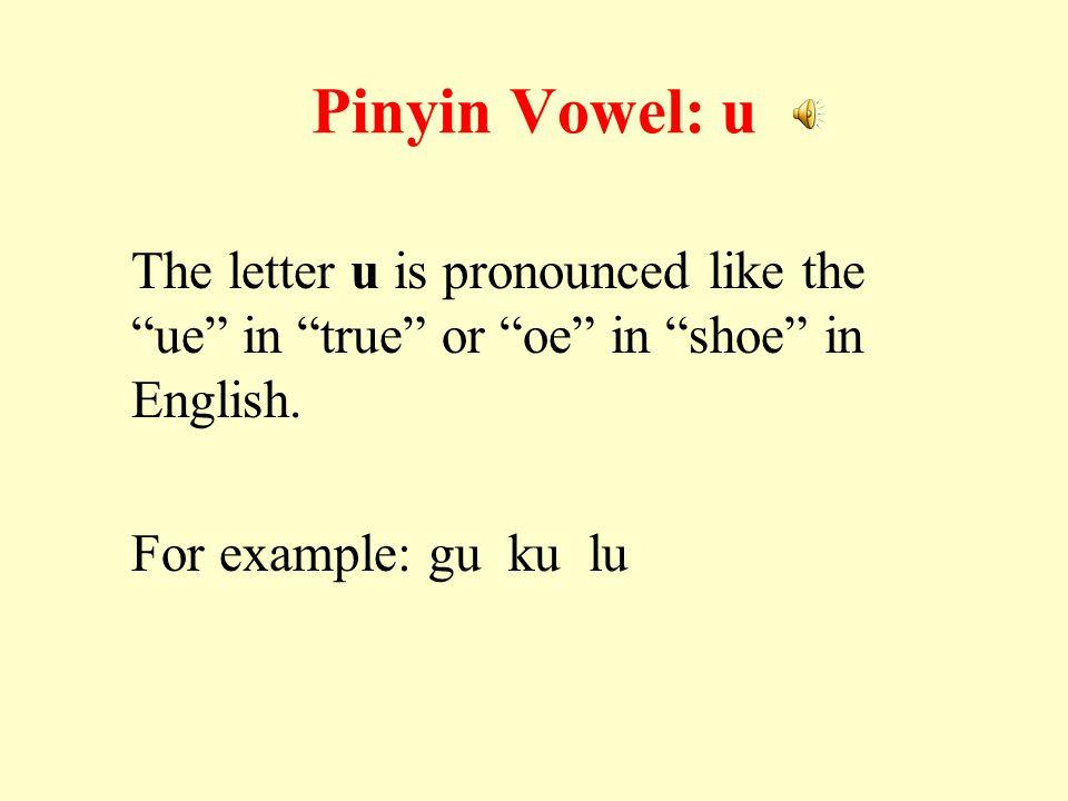 Pinyin Vowel: u The letter u is pronounced like the ue in true or oe in shoe in English.