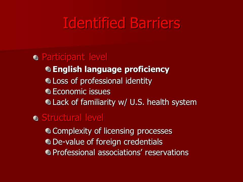 Identified Barriers Participant level English language proficiency Loss of professional identity Economic issues Lack of familiarity w/ U.S.