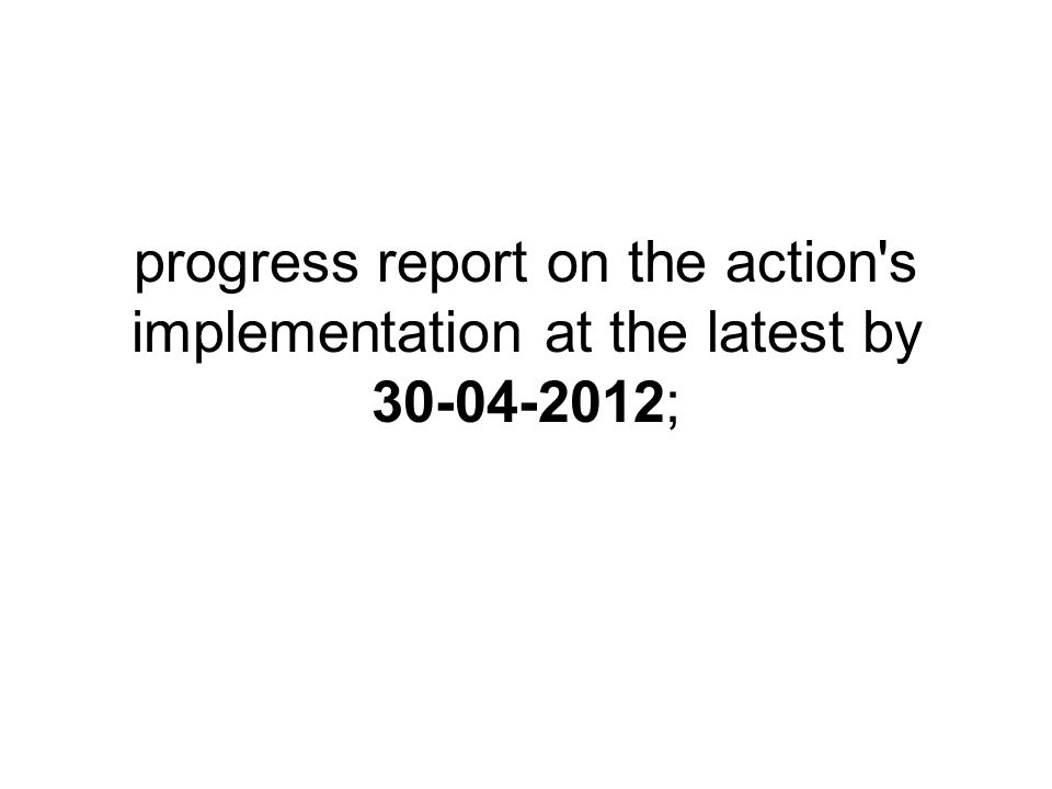 progress report on the action's implementation at the latest by 30-04-2012;