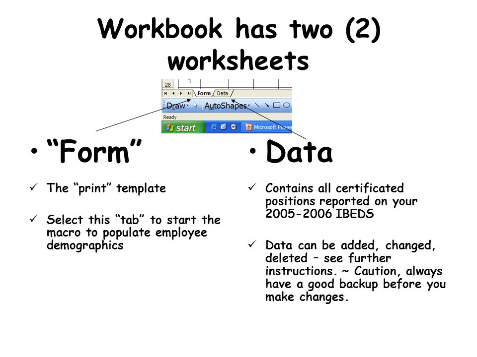 Workbook has two (2) worksheets Form The print template Select this tab to start the macro to populate employee demographics Data Contains all certificated positions reported on your 2005-2006 IBEDS Data can be added, changed, deleted – see further instructions.