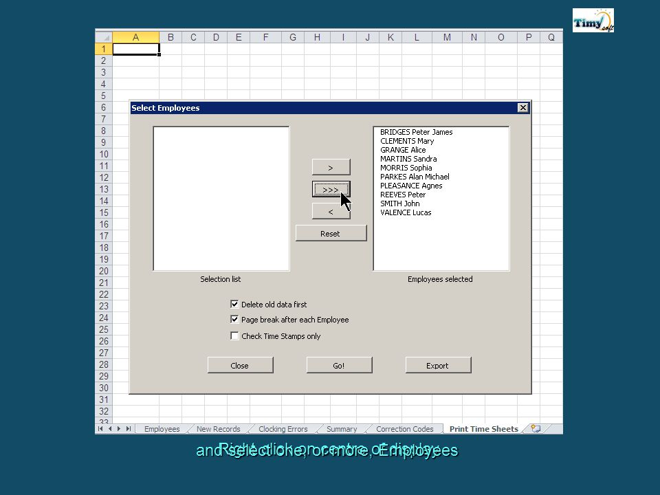 Right click on centre of display and select one, or more, Employees