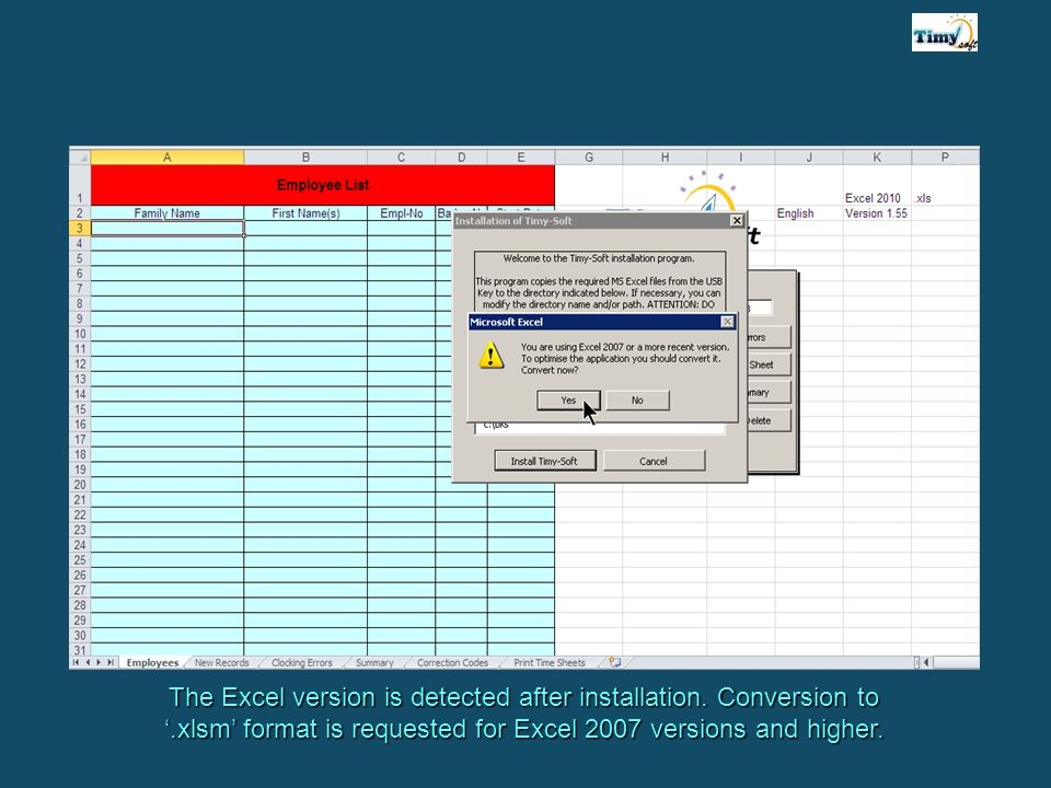 The Excel version is detected after installation.