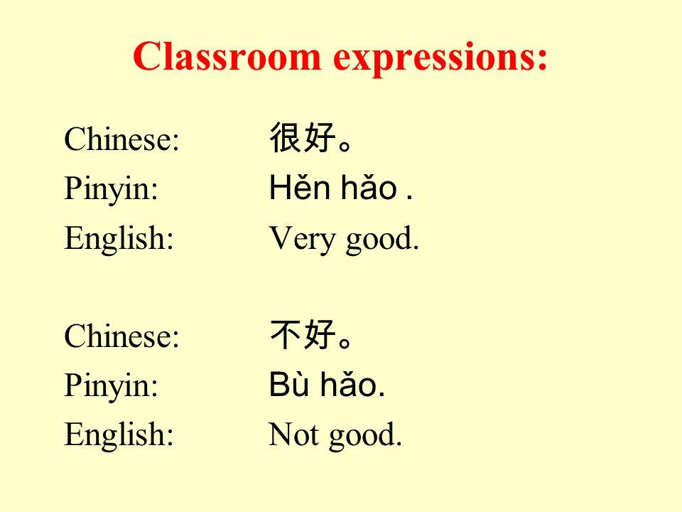 Classroom expressions: Chinese: 很好。 Pinyin: Hěn hǎo. English:Very good. Chinese: 不好。 Pinyin: Bù hǎo. English:Not good.