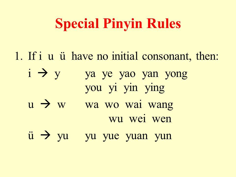 Special Pinyin Rules 1.If i u ü have no initial consonant, then: i  yya ye yao yan yong you yi yin ying u  wwa wo wai wang wu wei wen ü  yuyu yue y