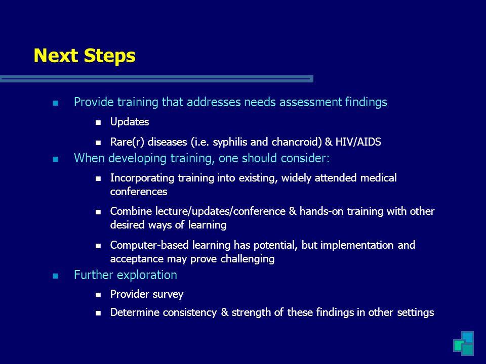 Next Steps Provide training that addresses needs assessment findings Updates Rare(r) diseases (i.e.