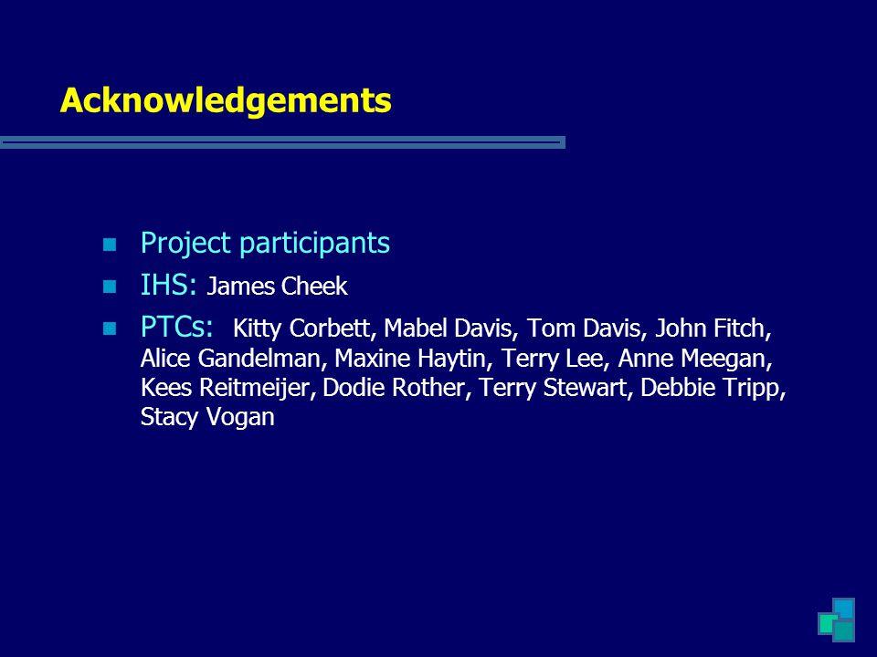 Acknowledgements Project participants IHS: James Cheek PTCs: Kitty Corbett, Mabel Davis, Tom Davis, John Fitch, Alice Gandelman, Maxine Haytin, Terry Lee, Anne Meegan, Kees Reitmeijer, Dodie Rother, Terry Stewart, Debbie Tripp, Stacy Vogan