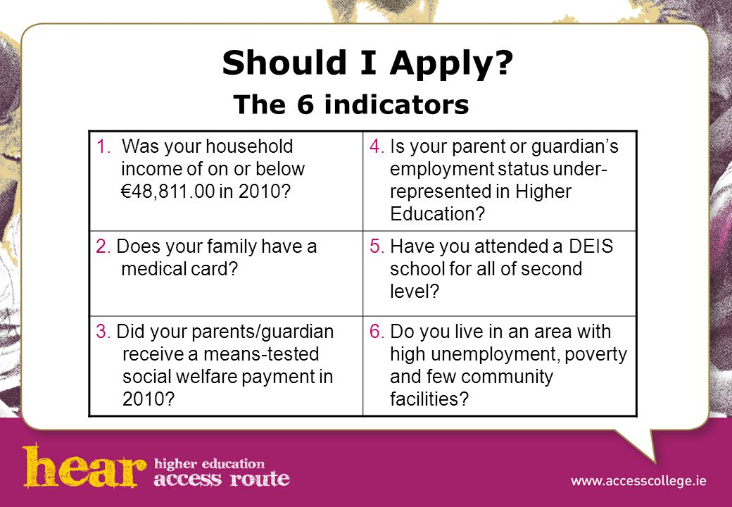 Should I Apply. The 6 indicators 1. Was your household income of on or below €48,811.00 in 2010.
