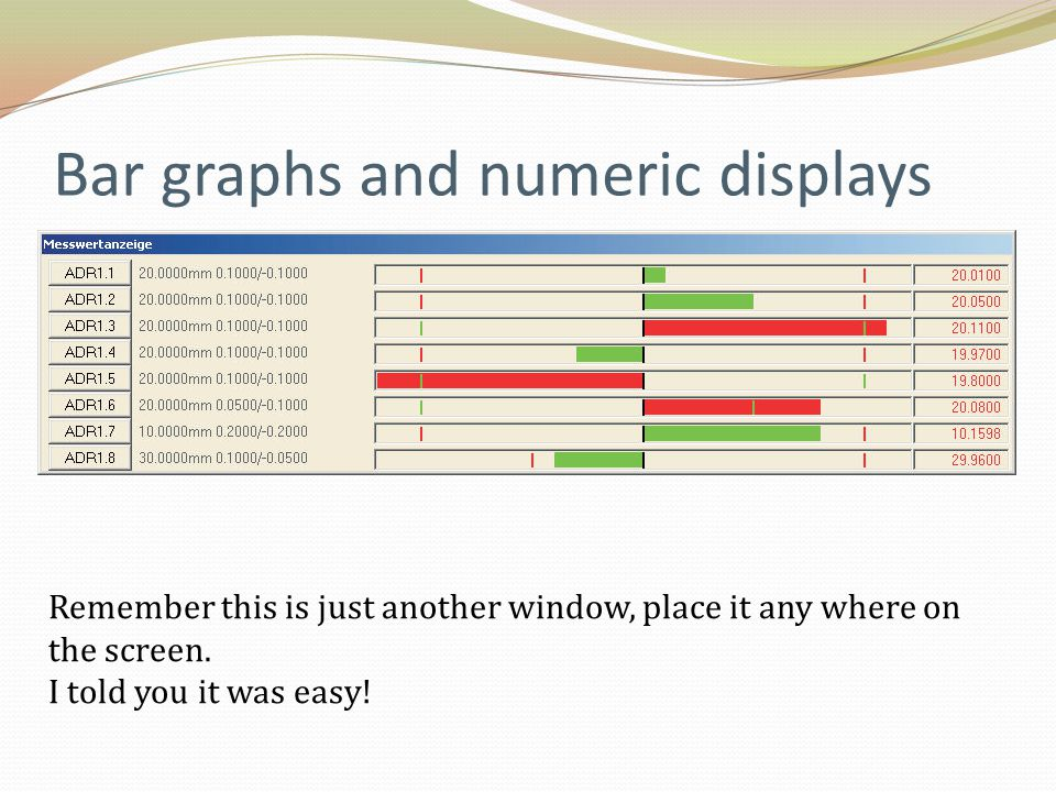 Bar graphs and numeric displays Remember this is just another window, place it any where on the screen. I told you it was easy!