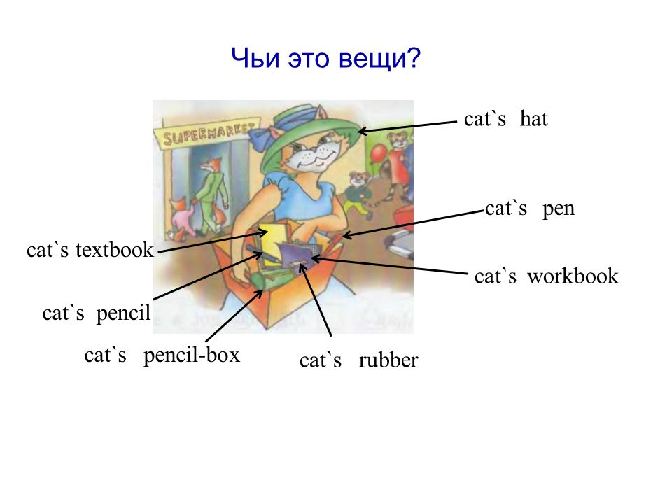 Чьи это вещи cat`s pen pencil pencil-box textbook workbook rubber cat`s