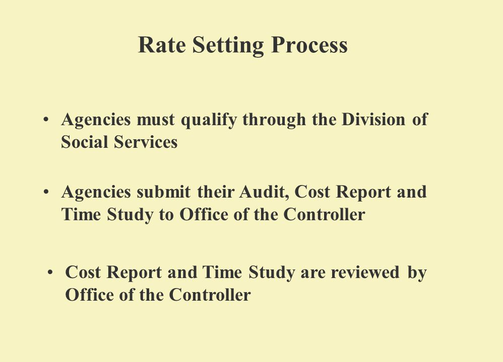 Rate Setting Process Agencies must qualify through the Division of Social Services Agencies submit their Audit, Cost Report and Time Study to Office of the Controller Cost Report and Time Study are reviewed by Office of the Controller