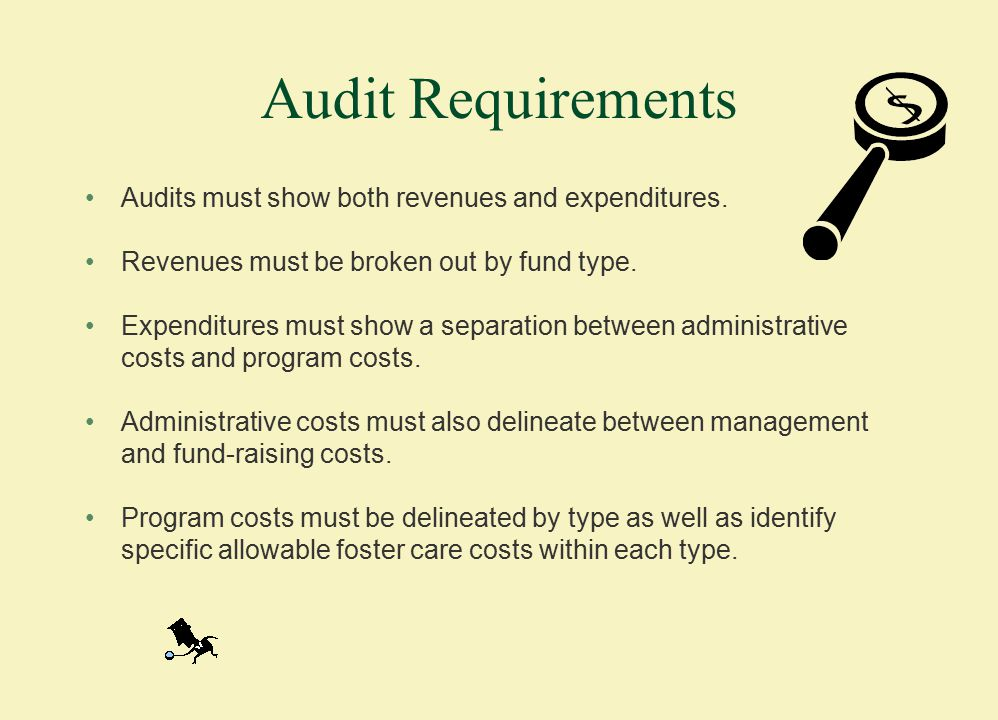 Audit Requirements Audits must show both revenues and expenditures.