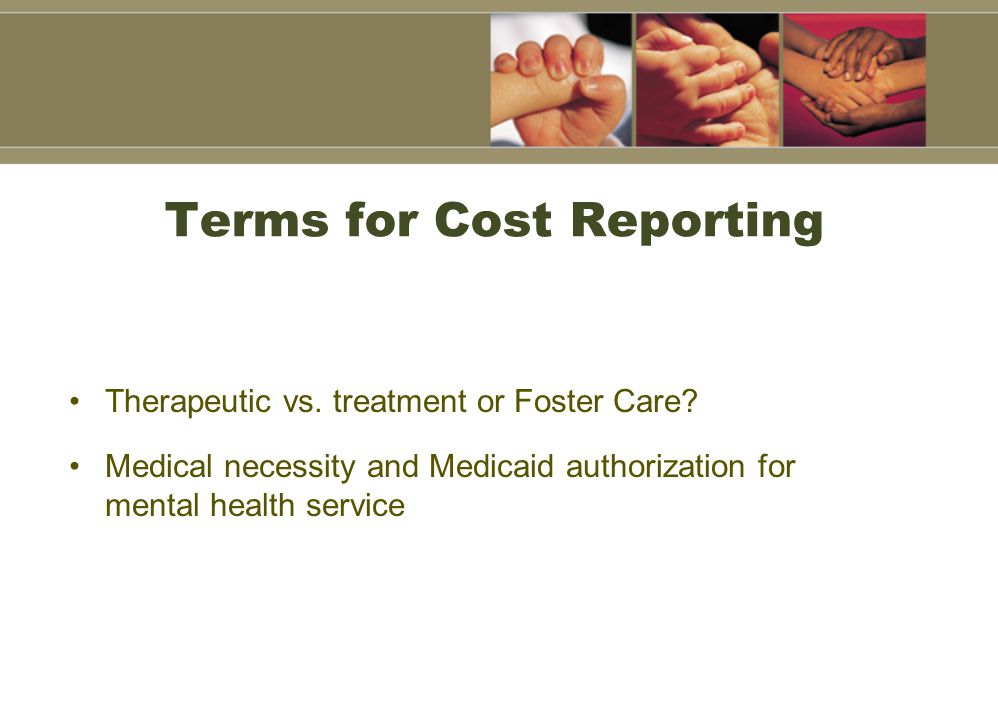 Terms for Cost Reporting Therapeutic vs. treatment or Foster Care.