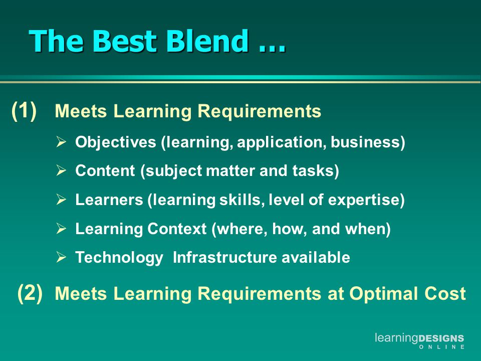 (1) Meets Learning Requirements  Objectives (learning, application, business)  Content (subject matter and tasks)  Learners (learning skills, level of expertise)  Learning Context (where, how, and when)  Technology Infrastructure available (2) Meets Learning Requirements at Optimal Cost The Best Blend …