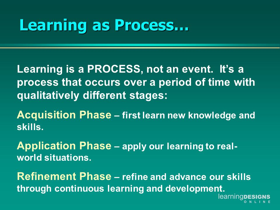 Learning as Process… Learning is a PROCESS, not an event.