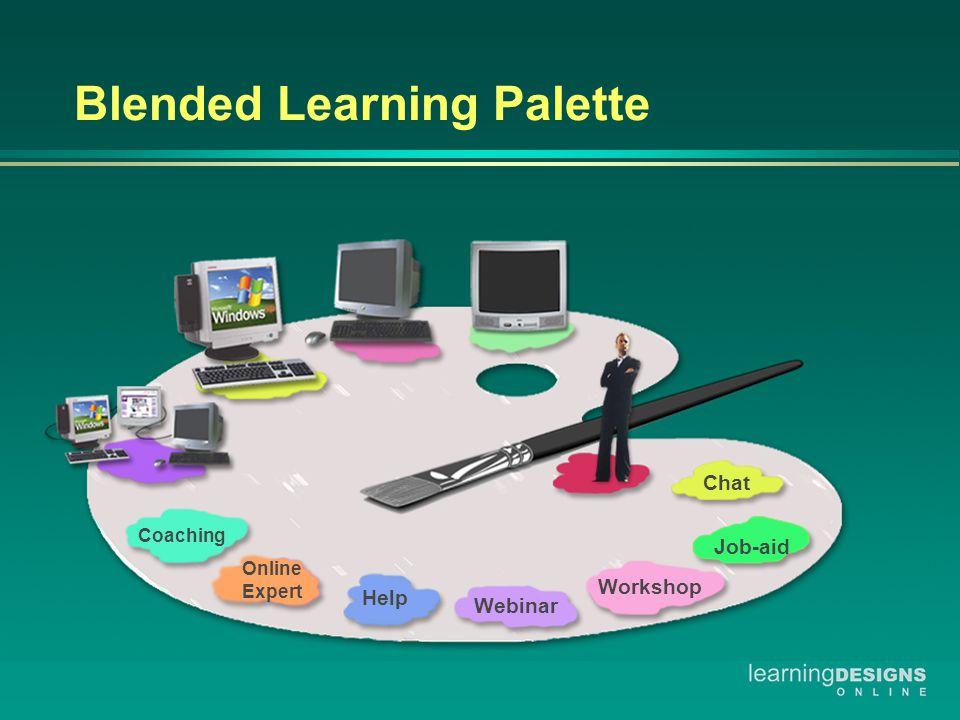 Blended Learning Palette Coaching Online Expert Help Webinar Workshop Job-aid Chat