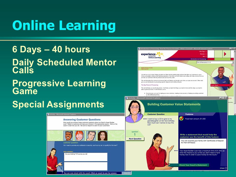 6 Days – 40 hours Daily Scheduled Mentor Calls Progressive Learning Game Special Assignments Online Learning
