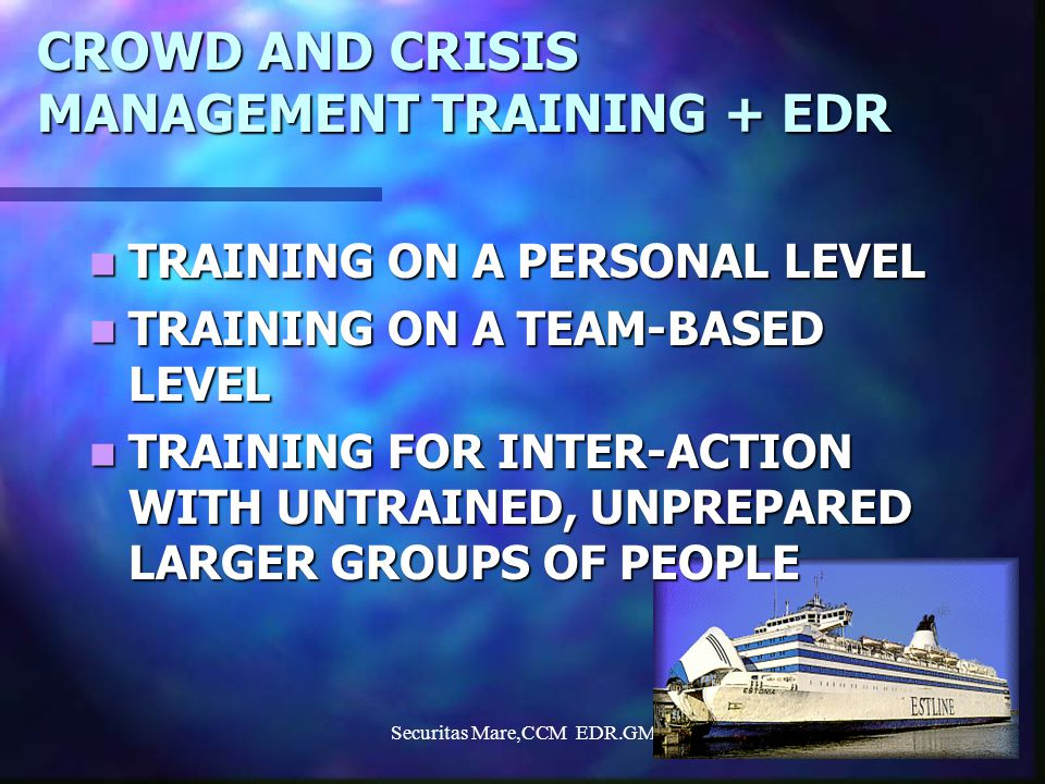 Securitas Mare,CCM EDR.GM4 ELEMENTS IN THE HUMAN CRISIS BEHAVIOUR (what, how and why?) ATTITUDES ATTITUDES PERSONALITY PERSONALITY EXPERIENCES EXPERIENCES KNOWLEDGE KNOWLEDGE SKILLS SKILLS KNOWLEDGE OF OWN ENVIRONMENT KNOWLEDGE OF OWN ENVIRONMENT TRAINED REACTION- MODELS TEAM-SPIRIT GAINED INFORMATION OWN INTERPRETATIONS TRUST IN ORGANISATION STRESS LEVEL