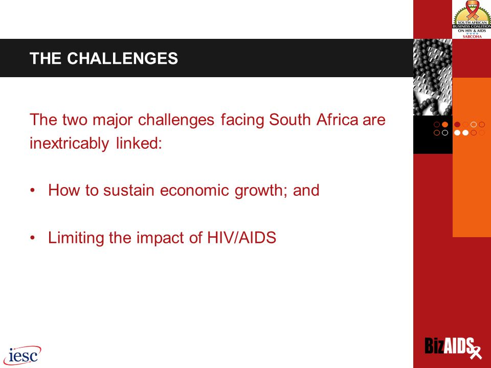 THE CHALLENGES The two major challenges facing South Africa are inextricably linked: How to sustain economic growth; and Limiting the impact of HIV/AIDS