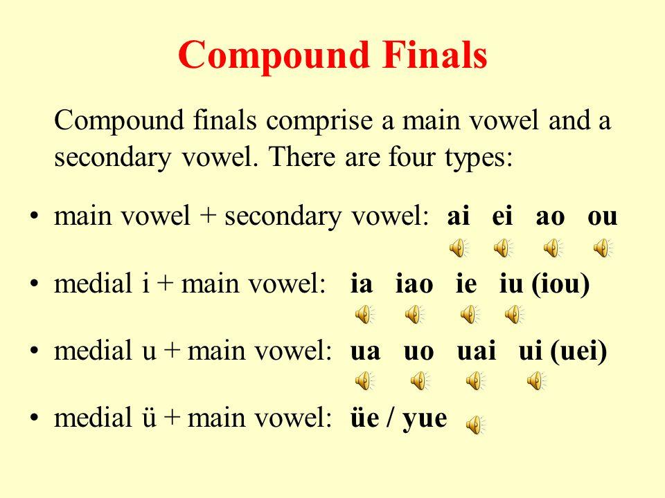 Compound Finals Compound finals comprise a main vowel and a secondary vowel.