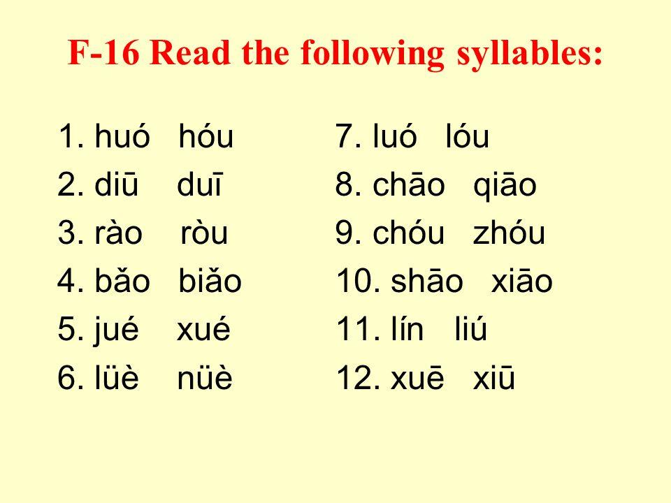 F-15 Listen to the instructor pronounce each syllable, then add the correct tone mark: 1. bie6. liu11. nuo 2. shuai7. mao12. ren 3. zhou8. tou13. shuo