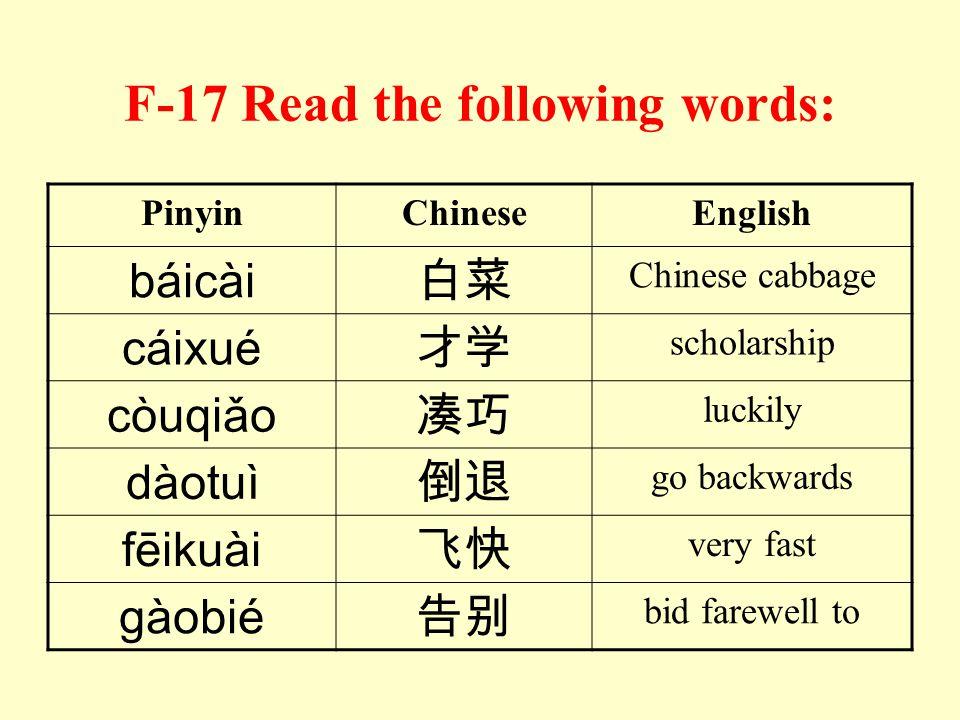 F-16 Read the following syllables: 1. huó hóu 7. luó lóu 2. diū duī 8. chāo qiāo 3. rào ròu 9. chóu zhóu 4. bǎo biǎo 10. shāo xiāo 5. jué xué 11. lín
