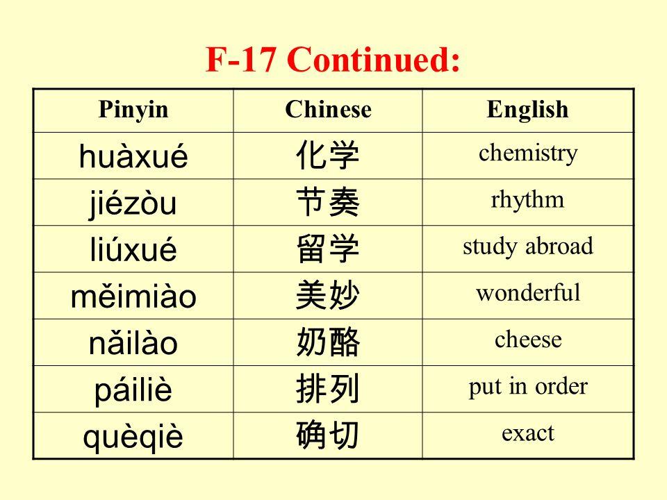F-17 Read the following words: PinyinChineseEnglish báicài白菜 Chinese cabbage cáixué才学 scholarship còuqiǎo凑巧 luckily dàotuì倒退 go backwards fēikuài飞快 ve