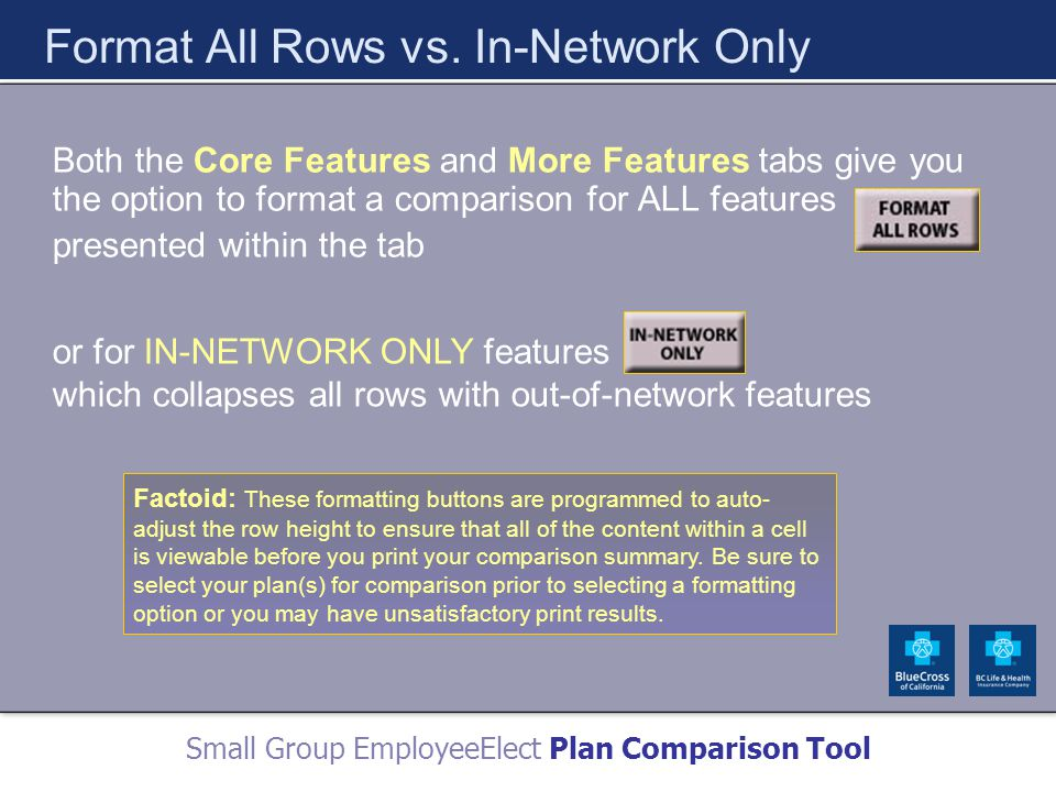 Small Group EmployeeElect Plan Comparison Tool Format All Rows vs.