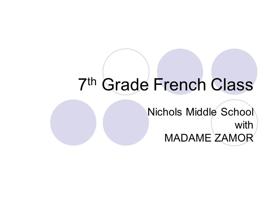 7 th Grade French Class Nichols Middle School with MADAME ZAMOR