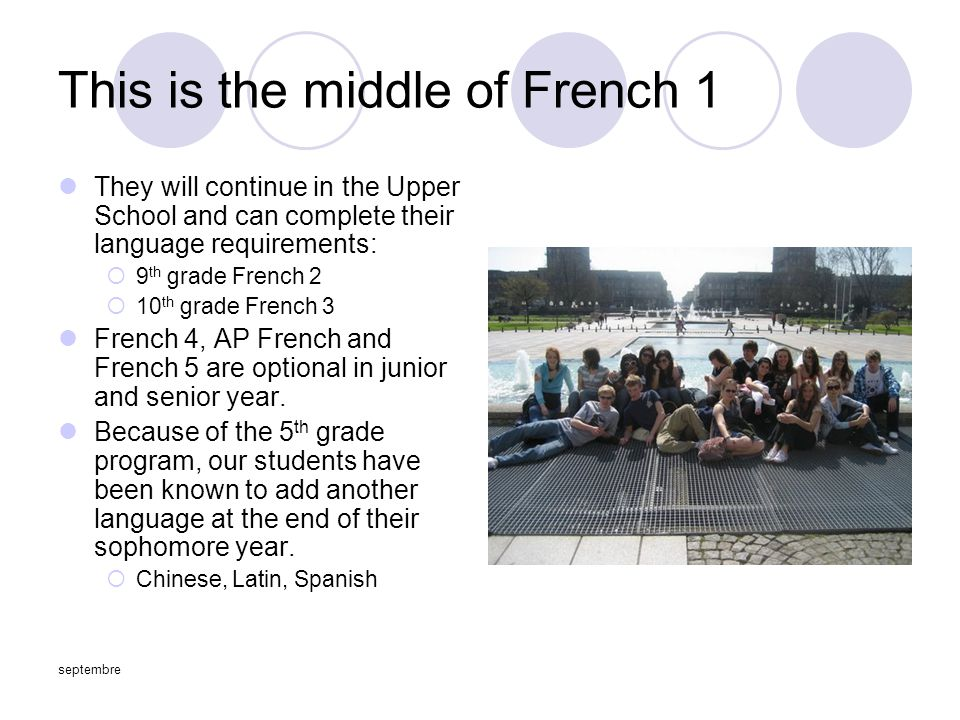 septembre This is the middle of French 1 They will continue in the Upper School and can complete their language requirements:  9 th grade French 2  10 th grade French 3 French 4, AP French and French 5 are optional in junior and senior year.