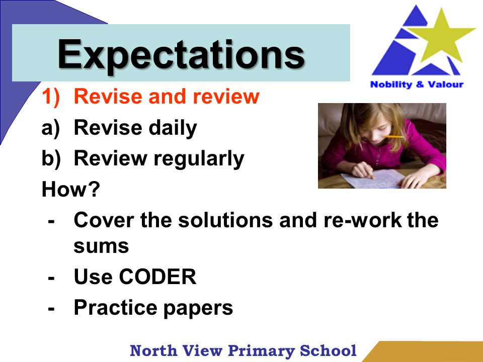 North View Primary School Expectations 1)Revise and review a)Revise daily b)Review regularly How.