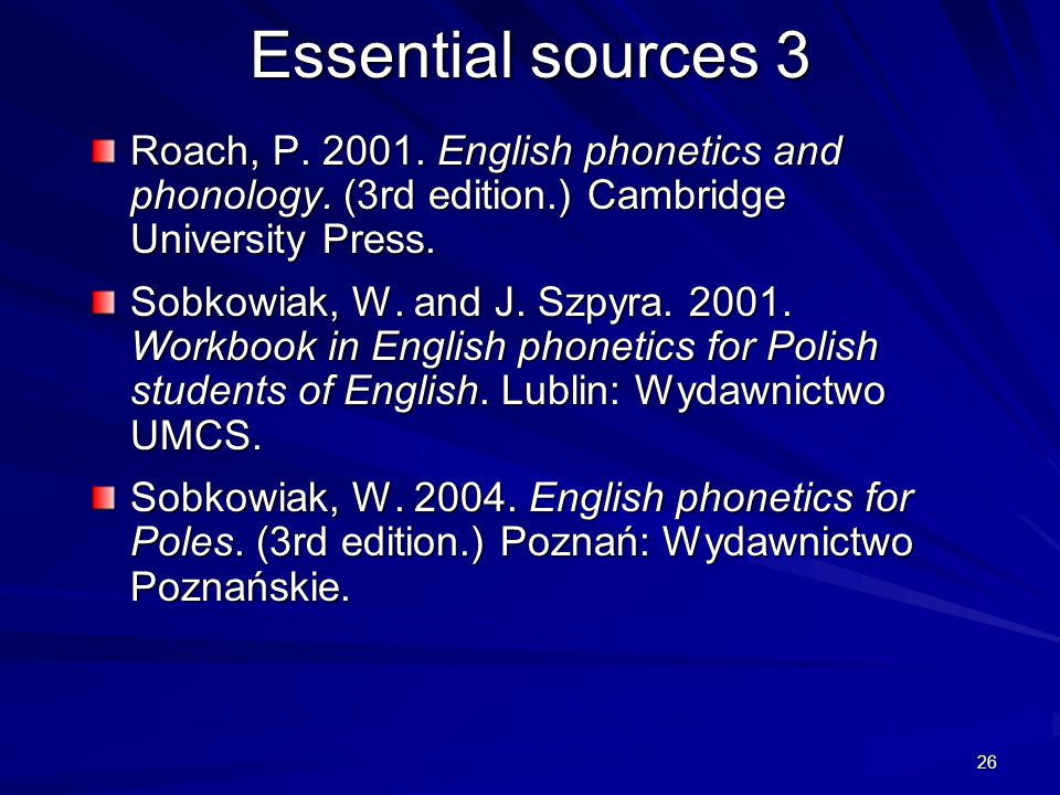 25 Essential sources 2 Garcia Lecumberri, M.L. and J.