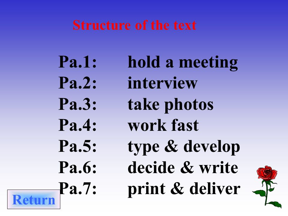 Structure of the text Pa.1: hold a meeting Pa.2: interview Pa.3: take photos Pa.4: work fast Pa.5: type & develop Pa.6: decide & write Pa.7: print & deliver Return