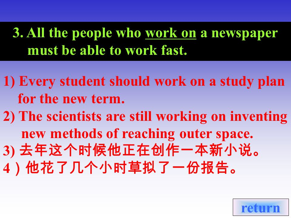 3. All the people who work on a newspaper must be able to work fast.