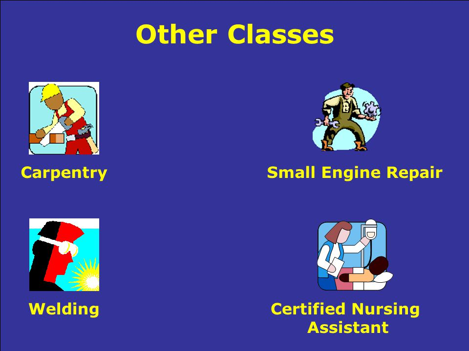 Other Classes CarpentrySmall Engine Repair WeldingCertified Nursing Assistant