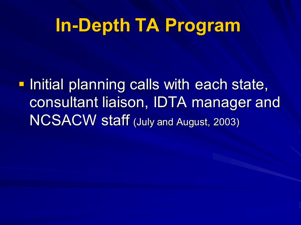 In-Depth TA Program  Initial planning calls with each state, consultant liaison, IDTA manager and NCSACW staff (July and August, 2003)