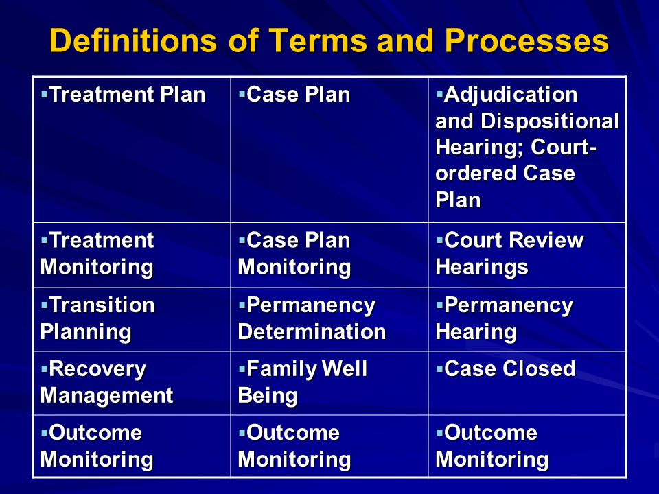 Definitions of Terms and Processes  Treatment Plan  Case Plan  Adjudication and Dispositional Hearing; Court- ordered Case Plan  Treatment Monitoring  Case Plan Monitoring  Court Review Hearings  Transition Planning  Permanency Determination  Permanency Hearing  Recovery Management  Family Well Being  Case Closed  Outcome Monitoring