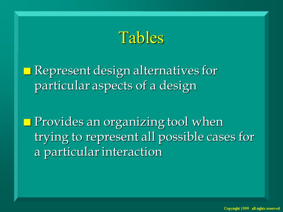 Copyright 1999 all rights reserved Tables n Represent design alternatives for particular aspects of a design n Provides an organizing tool when trying to represent all possible cases for a particular interaction