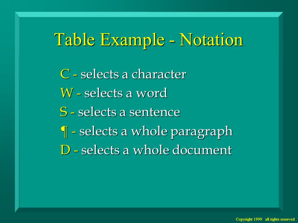 Copyright 1999 all rights reserved Table Example - Notation C - selects a character W - selects a word S - selects a sentence ¶ - selects a whole paragraph D - selects a whole document