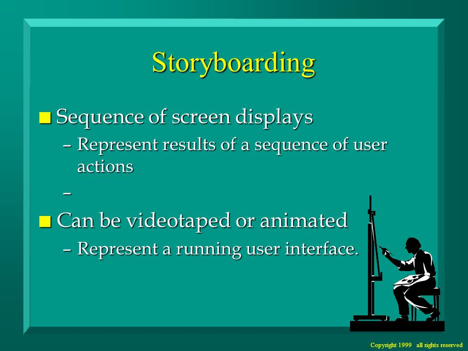 Copyright 1999 all rights reserved Storyboarding n Sequence of screen displays –Represent results of a sequence of user actions – n Can be videotaped or animated –Represent a running user interface.